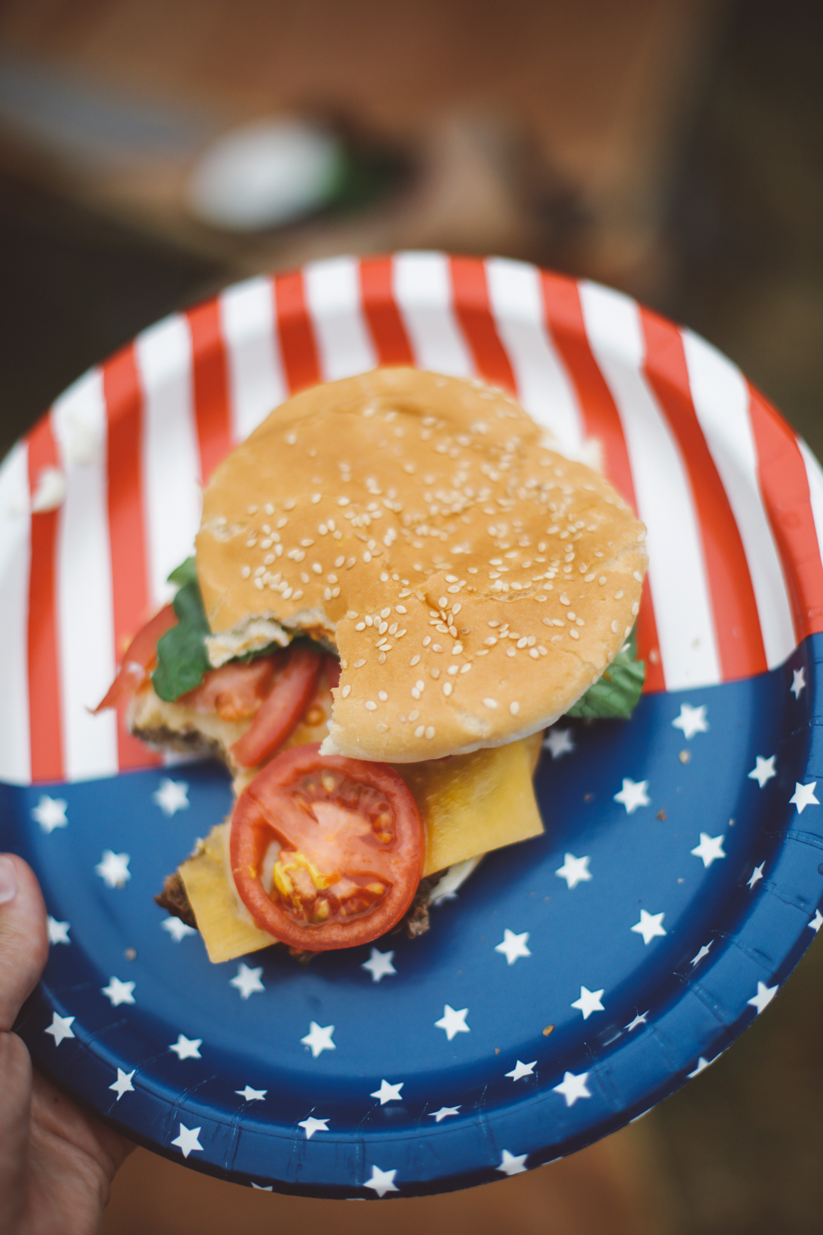 Fourth of July hamburger