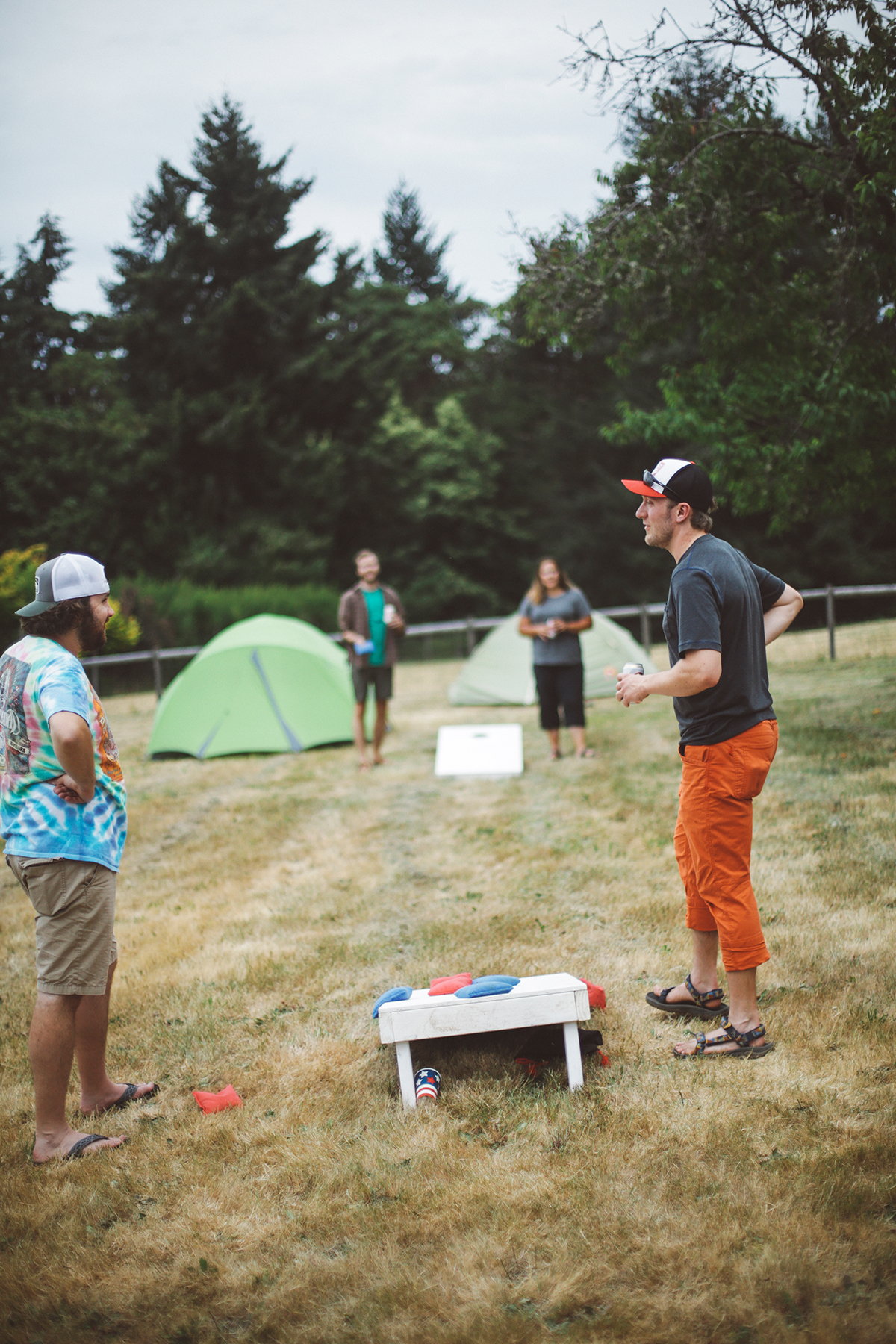 Camping and playing cornhole