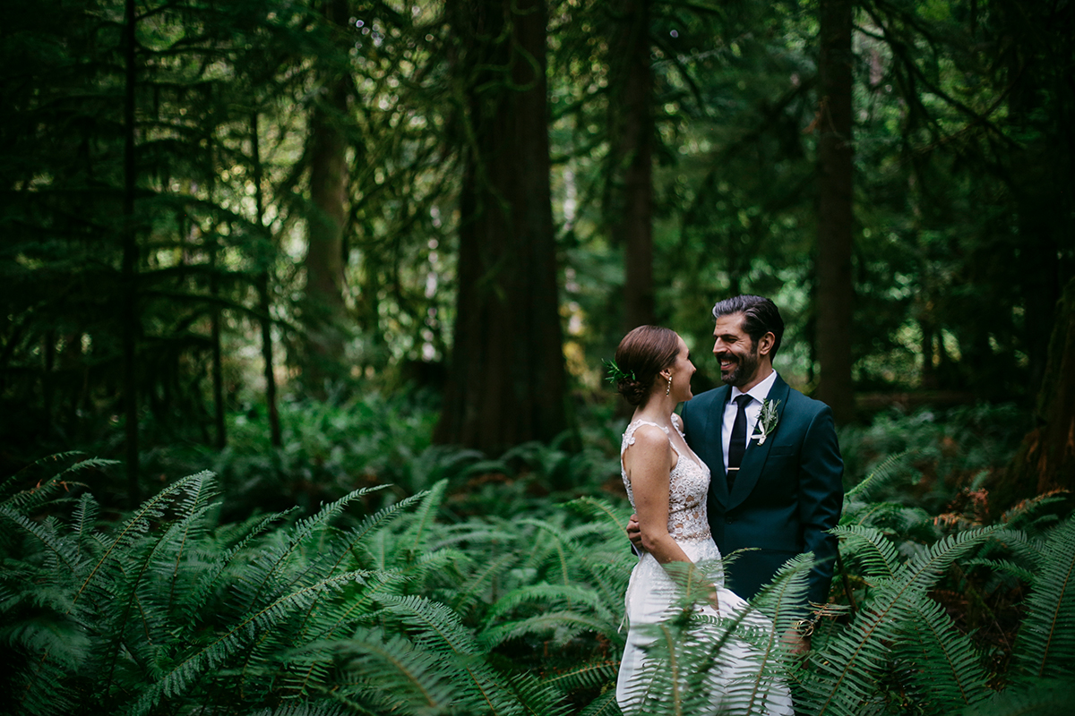 Bride and groom in ferns