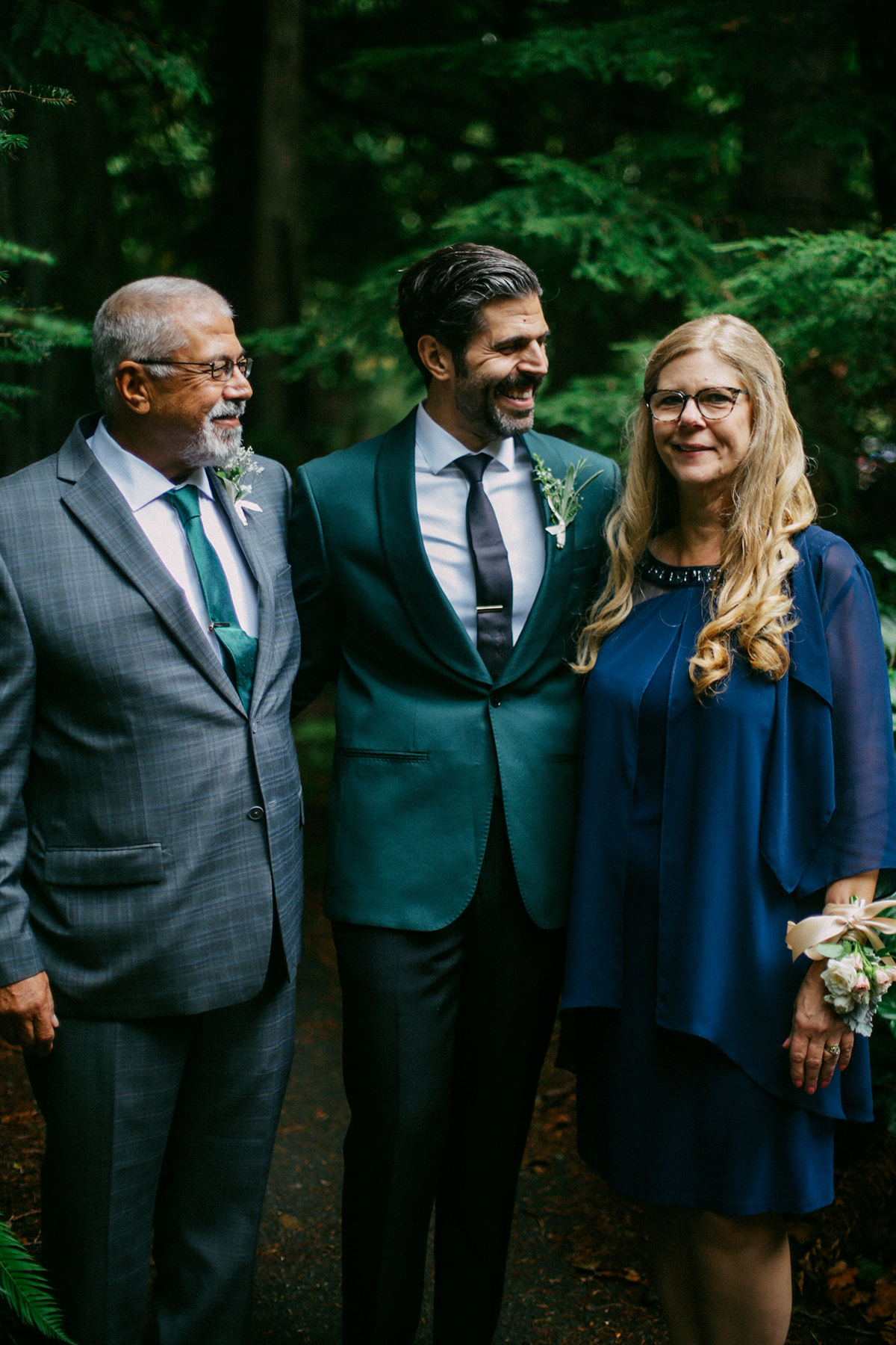 Groom and parents