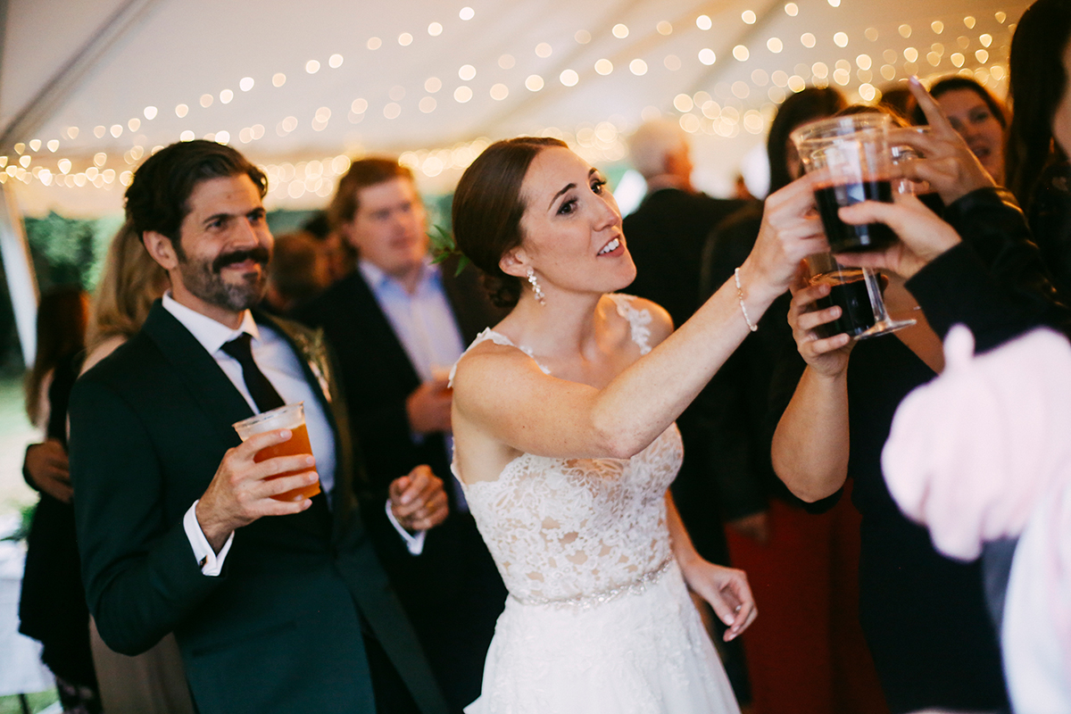 Bride cheersing