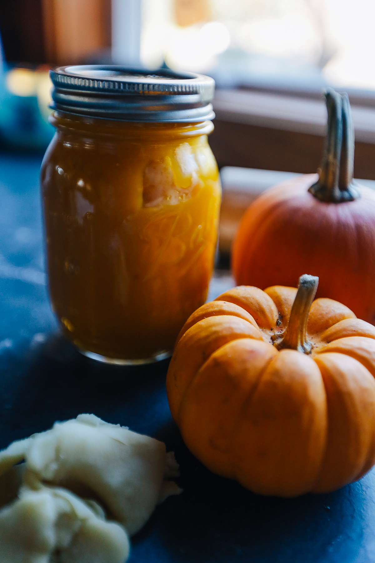 Pumpkin puree in mason jar