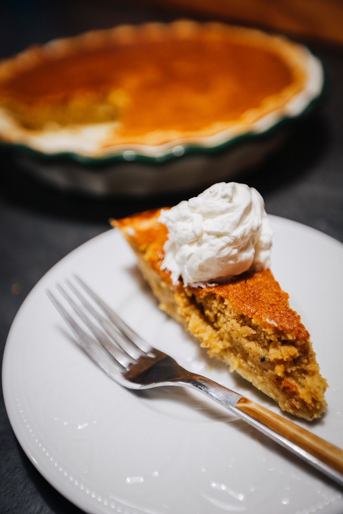 Slice of pumpkin pie