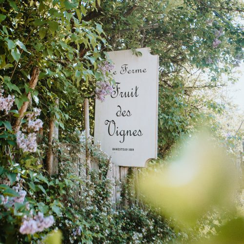 The Fruit des Vignes farâmstand sign, framed by flowers and leaves.